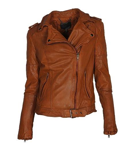 MUUBAA Damen Lederjacke Gipsy Bikerjacke Jacke Leder - Leder - braun