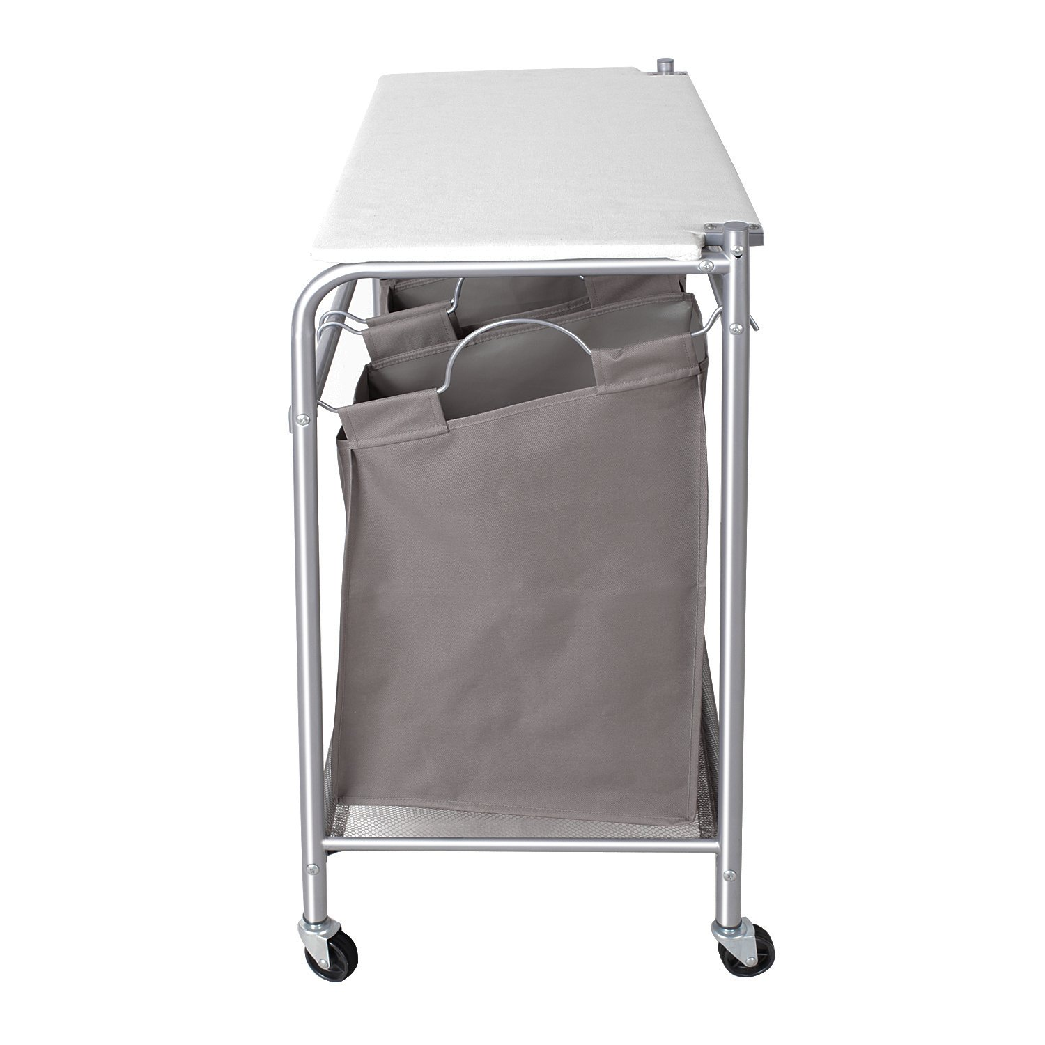 storagemaniac 3 lift off bags laundry sorter cart with foldable ironing board ebay. Black Bedroom Furniture Sets. Home Design Ideas