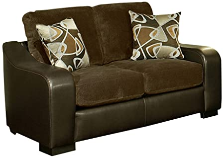 Furniture of America Randolph Suede Loveseat, 68-Inch, Chocolate Brown