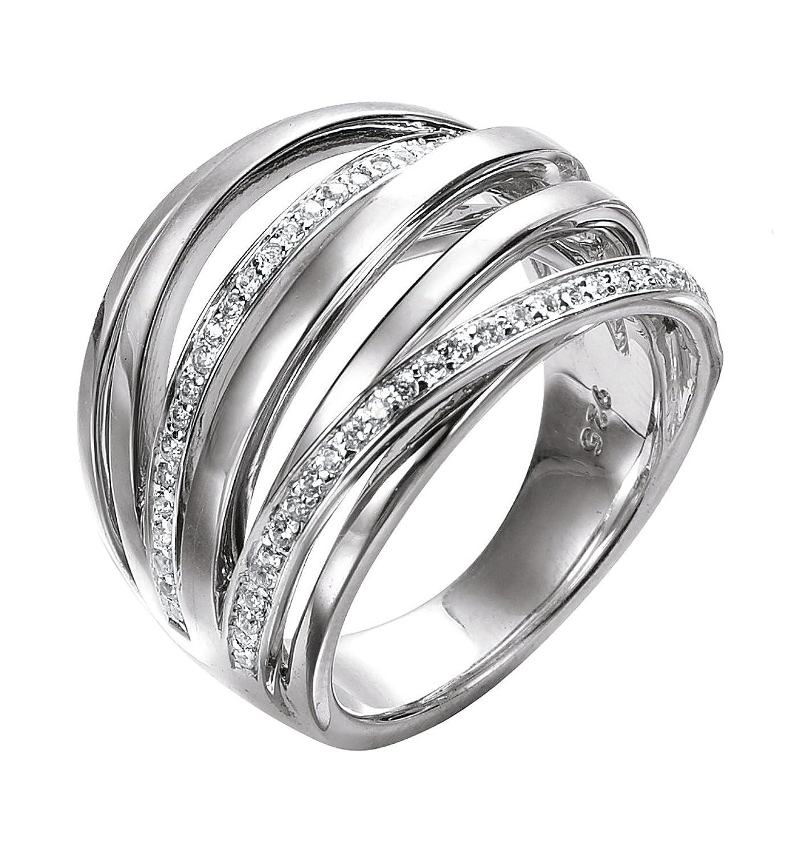Merii Damen-Ring 925 Sterlingsilber rhodiniert Zirkonia weiß M0454R/90/03 online kaufen