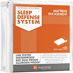 Hospitology Sleep Defense System Waterproof/Bed Bug Proof Mattress Encasement,80-Inch by 60-Inch, Queen