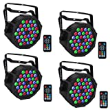 LED Par, YeeSite 36 LEDs RGB Stage Light with Remote Control DMX Lights for Church Wedding Stage Lighting - 4 Pack (Color: 36LED Par Light - 4 pack)