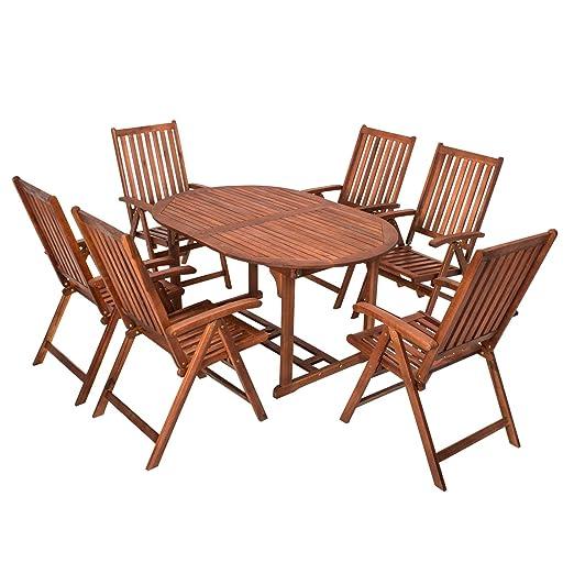 7 teilige Sitzgruppe 6 Stuhle 1 Tisch Gartenmöbel Holz Gartentisch Esstisch Sitzgarnitur 200563 (J)