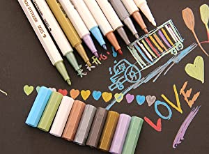 MXXGMYJ Waterproof Metallic Marker Pens Metallic Colored Pencils Highlighters Paint Marker for DIY Arts Crafts Album Photo 10Pack