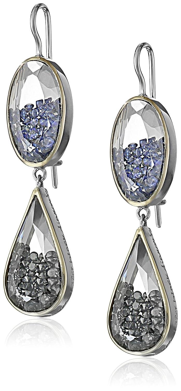 """Moritz Glik """"Kaleidoscope""""18k White Gold Diamond and Blue Sapphire Dangle Earrings"""