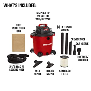 CRAFTSMAN CMXEVBE17596 20 gallon 6.5 Peak Hp Wet/Dry Vac, Heavy-Duty Shop Vacuum with Attachments (Tamaño: 20 Gallon 6.5 Peak HP)