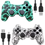 Kolopc Wireless Bluetooth Controller for PS3 Double Shock - Bundled with USB Charge Cord (WhiteSkull and GreenFlash) (Color: WhiteSkull and GreenFlash)