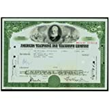 1963 SCARCE ORIGINAL VINTAGE GREEN AT&T (AMERICAN TELEPHONE TELEGRAPH) STOCK CERTIFCATE! ALEXANDER GRAHAM BELL VIGNETTE! 100 Shares Crisp XF-AU