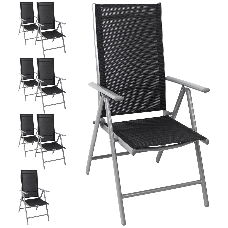 8x Hochlehner Gartenstuhl, Aluminium, hochwertige 4x4 Textilenbespannung, 8-fach verstellbar, klappbar, Silber/Schwarz - Liegestuhl Positionsstuhl Klappstuhl Terrassenmöbel Balkonmöbel Gartenmöbel