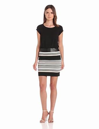 laundry BY SHELLI SEGAL Women's Jersey and Stripe 2-Fer Dress, Black/Multi, 0