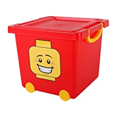 IRIS LEGO Square Stacking Basket with Lid and Wheels