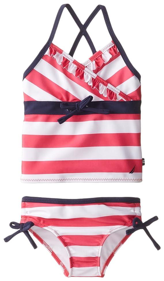 Nautica Little Girls Ruffled Stripe Tankini Magenta 2T