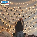 Clips String Lights, Window Curtain Wall 20 LED String Lights for Hanging Artwork Photos Memos and Paintings, for Bedroom, Dorm, Home Décor, Battery Operated (Color: Warm White, Tamaño: 20 clips)