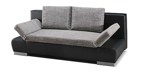 Polstermöbel Leandro in grau / schwarz mit Bettfunktion – Abmessungen: 203 x 95 cm (L x B)