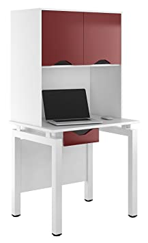 Kit Out My Office UCLIC Bench Desk Cupboard with Single Drawer and 2 Door Upper Storage, Metal, Burgundy, 800 mm