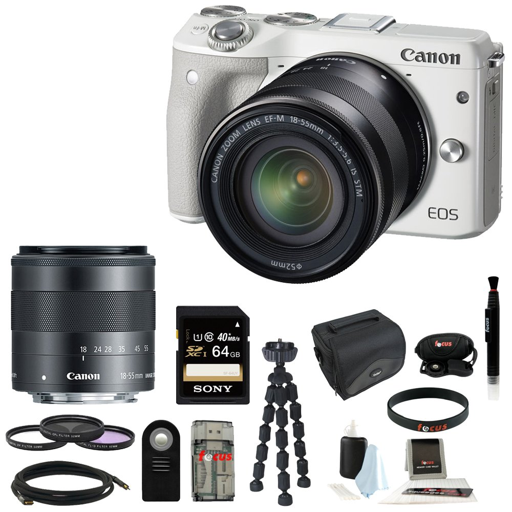 Canon EOS M3 Mirrorless Digital Camera (White) with EF-M 18-55mm with 64GB Accessory Bundle