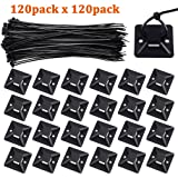Zip Ties and Mounts, Viaky 120 Pcs 8 Inch Self-Locking Nylon Cable Ties with 120 Pcs Adhesive-Backed Mounts Screw Hole Anchor Wire Tie Base(1.1