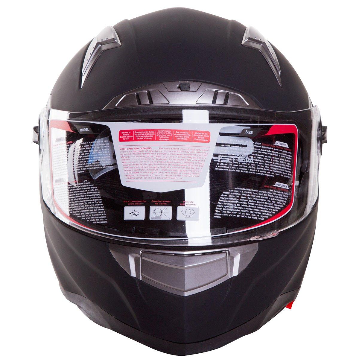 MATTE BLACK DUAL VISOR FULL-FACE STREET BIKE MOTORCYCLE HELMET