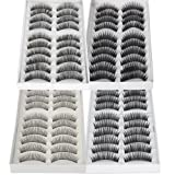 ReNext 40 Pairs of Black Long & Thick Reusable False Eyelashes Fake Eye Lash for Makeup Cosmetic, 4 Kinds of Style (Color: Black, Tamaño: 4 Kinds of Style(40pairs))