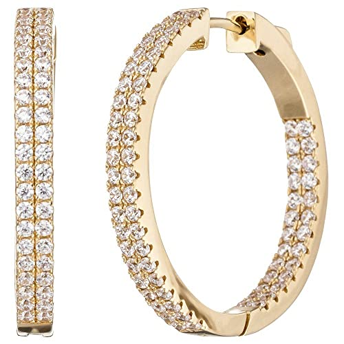 Hoop Earrings 29,5x3,4mm Round 925Silver White Gold Plated Cubic Zirconia Earrings