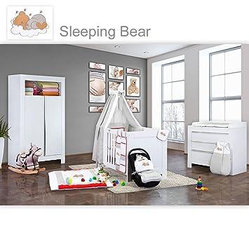 21-tlg.Babyzimmer Felix mit 2-turigem Kl. in reinem Weiß + Sleeping Bear in gelb