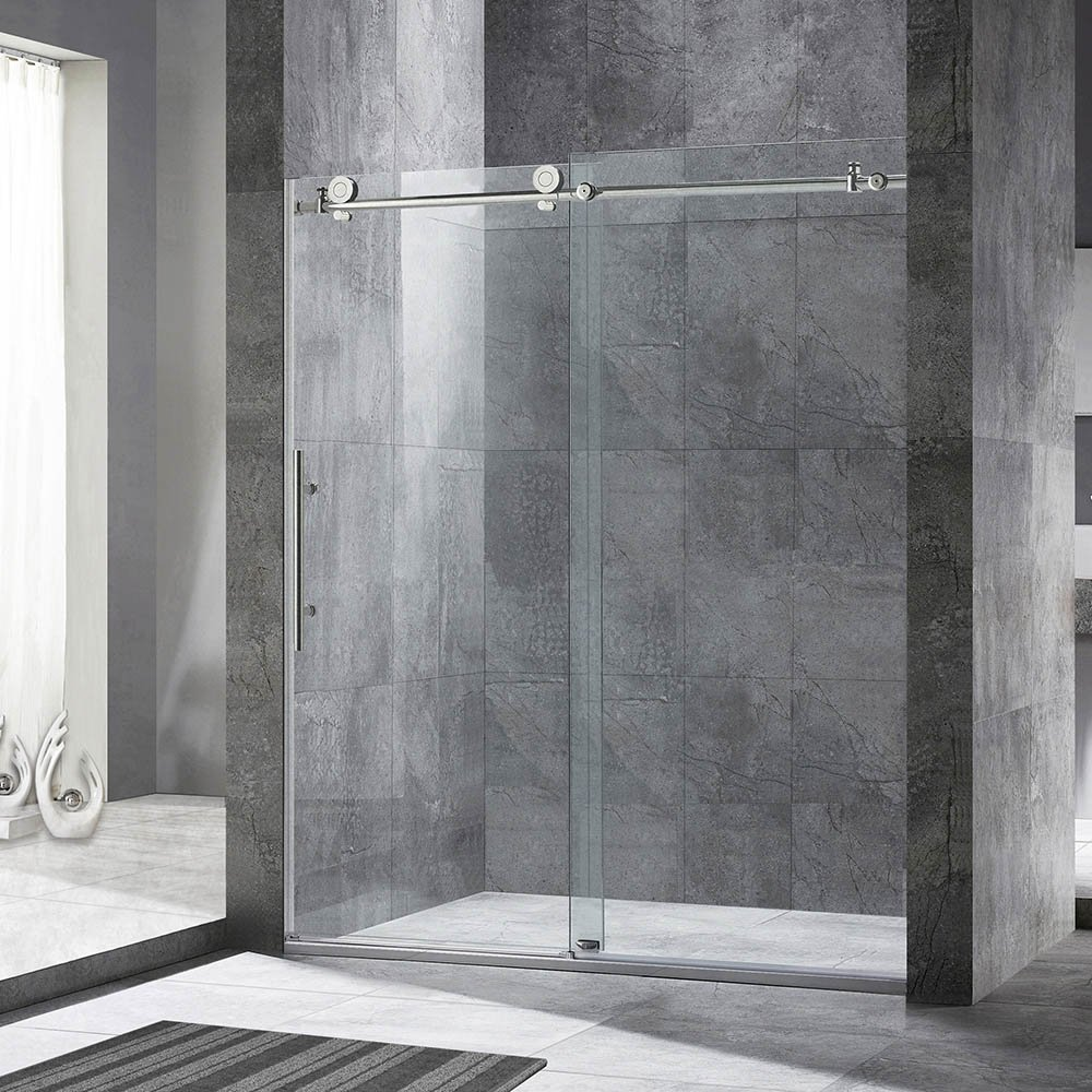"Woodbridge Frameless Sliding Shower Door, 56""-60"" Width, 76"" Height, 3/8"" (10 mm) Clear Tempered Glass, Chrome Finish, Designed for Smooth Door Closing and Opening. MBSDC6076-C"