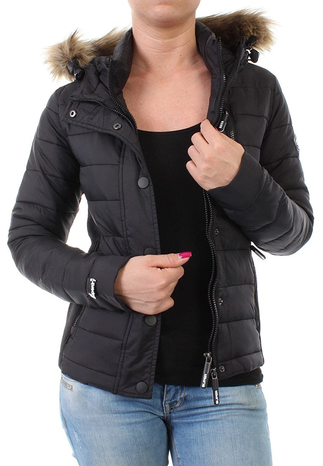 Superdry Jacke Women FUJI SLIM DOUBLE ZIP HOOD Black