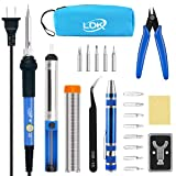 LDK Electric Soldering Iron Kit 60W Adjustable Temperature Welding Tools with 5pcs Different Tips, Desoldering Pump, Solder Wire, 8-in-1 Screwdrivers, Wire Cutter, Tweezers, Stand and Carry Bag (Color: Carry Bag)