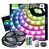 LE LampUX LED Strip Lights, Works wiith Alexa Google Home, 32.8ft, Waterproof, WiFi Smart RGB Color Changing, SMD 5050 LED Rope Light, App&Remote Controlled, Tape Light for Bedroom, Home and Kitchen (Color: Rgb (Red, Green, Blue), Tamaño: 32.8FT)