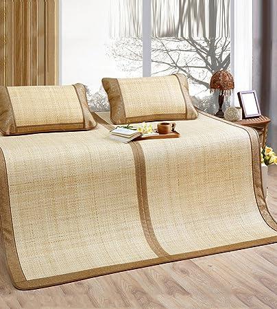 PENGFEI estera del verano Estera de bambú de doble cara Los asientos de ratán natural se pueden plegar alfombrillas de color blanco 1.5M1.8 metros tres conjuntos de asientos de ratán Esteras de verano / esteras de bambú esteras