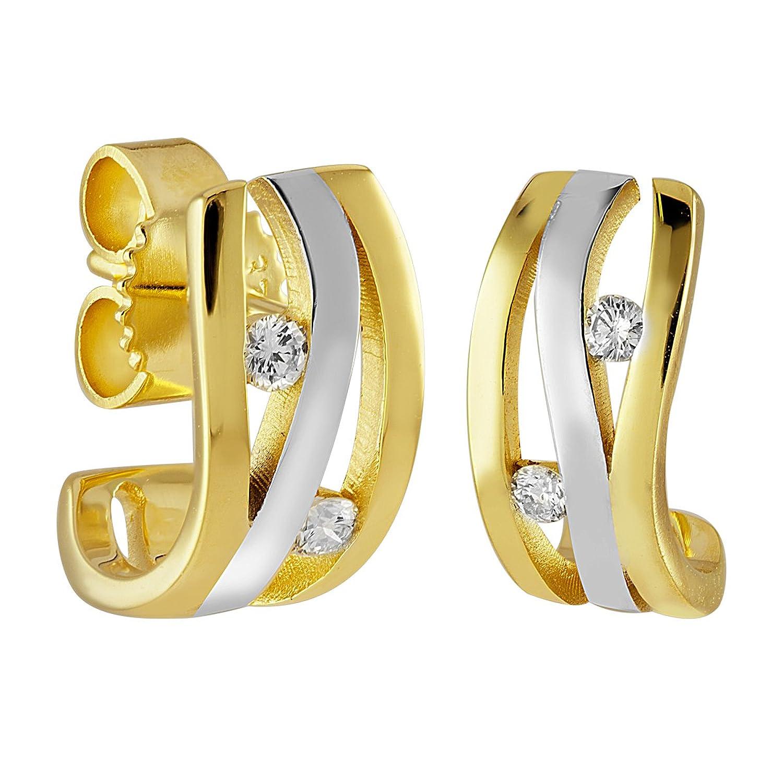 Diamond Line Damen-Ohrstecker Ohrringe Brillant-Ohrschmuck 375 Gelbgold teilrhodiniert Diamant (0.10 ct) weiß Brillantschliff – 119690 günstig bestellen