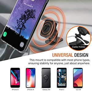 Trianium Magnetic Car Phone Mount for iPhone Xs Max XR iPhone X 8 7 6s 6 Plus, Galaxy S9 S8 S7 Edge Note 9, LG G7 ThinQ G6 G5,Pixel [Stick On Dashboar