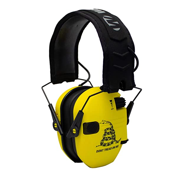 Walker's Razor Slim Electronic Shooting Hearing Protection Muff (Don't Tread On Me, Yellow) (Color: American Don't Tread On Me)