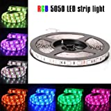 econoLED 12V Flexible SMD 5050 RGB LED Strip Lights, LED Tape, Multi-colors, 300 LEDs, Non-waterproof, Light Strips, Color Changing, Pack of 16.4ft/5m Strips (Color: RGB)
