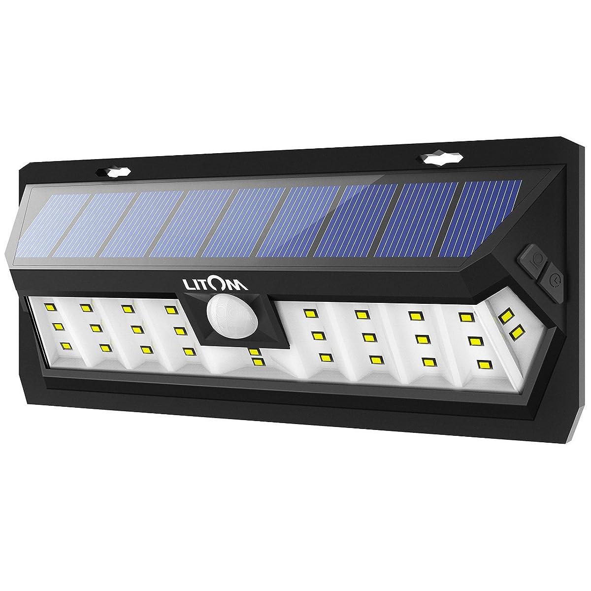 Litom Solar Lights Outdoor 30 LED, Adjustable Lighting Time Solar Motion Sensor Light with Wide Angle and Waterproof Design, Wireless Solar Lighting for Garden Yard Patio