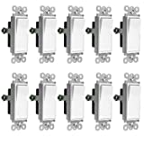Enerlites Light Switch On/Off Paddle Wall Switch 91150-W | 15 Amp, 120V/277V, AC, Single Pole, 3 Wire, Grounding Screw, Residential and Commercial Graded Light Switch, UL Listed | White - 10 Pack