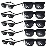 Wholesale Unisex Thug Life Party Sunglasses 8 Bits Style Pixel Mosaic MLG Photo Props Glasses (10 Pack) (Color: Thug Life Glasses, Tamaño: 143mm)