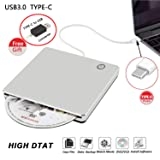 External CD DVD Drive Burner Player USB3.0 Type-C Portable Slim DVD/CD ROM Superdrive +/- RW Rewriter/Writer/Reader with High Speed Data for Laptop/Desktop Support Windows/Mac OSX (Color: silver)