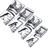 4 Pieces Hem Foot, Narrow Rolled Hem Foot Sewing Machine Hemmer Presser Foot Set Suitable for Household Multi-Function Sewing Machines (1x3 mm, 4 mm and 2x6 mm) (4 Pieces) (Color: Silver, Tamaño: 4 Pieces)