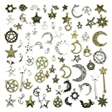 Celestial Mixed Sun Moon Star Charms, JIALEEY Wholesale Bulk Lots Antique Alloy Charms Pendants DIY for Necklace Bracelet Jewelry Making and Crafting, 100g(74PCS) (Color: Sliver&bronze)