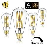 Leools LED Edison Bulb 15W Dimmable 2700K Warm White 1300LM, 120W Equivalent E26 Medium Base, ST64 Vintage LED Filament Bulbs, 360 Degrees Beam Angle, Pack of 4 (Color: 15w-warm White-4p)