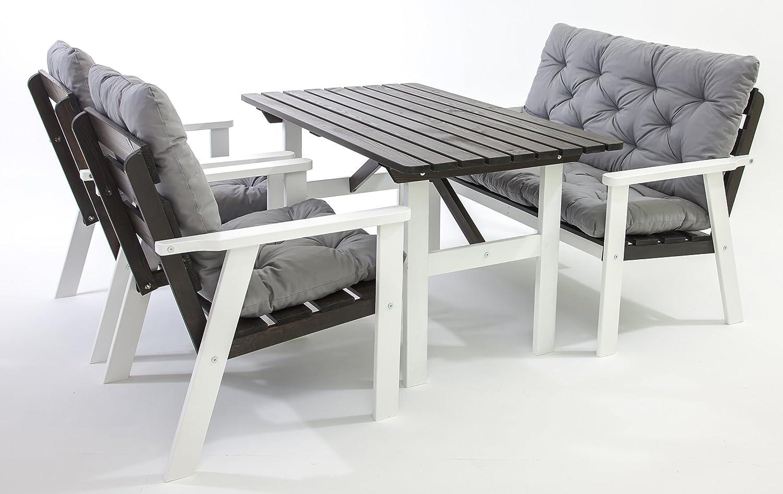 GARDENho.me Nordische Massivholz Loungegruppe HANKO inkl. Kissen Essgruppe 5 Farbvarianten Weiß/Taupegrau