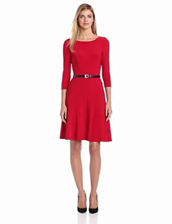 Anne Klein Women's Jersey Swing Dress, Cardinal, 4