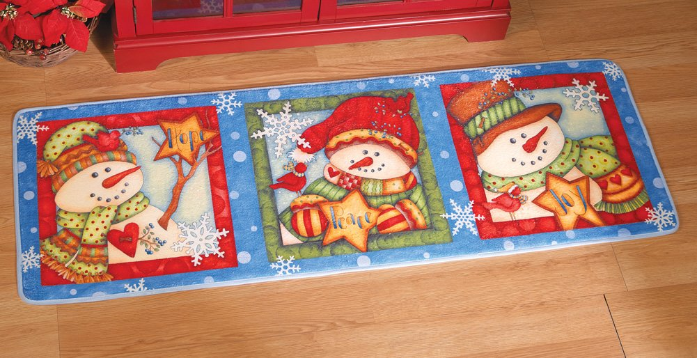 Peace, Joy, Hope Winter Snowmen Floor Runner