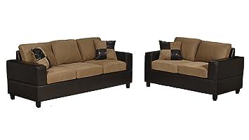 Bobkona Seattle Microfiber Sofa and Loveseat 2-Piece Set in Saddle Color