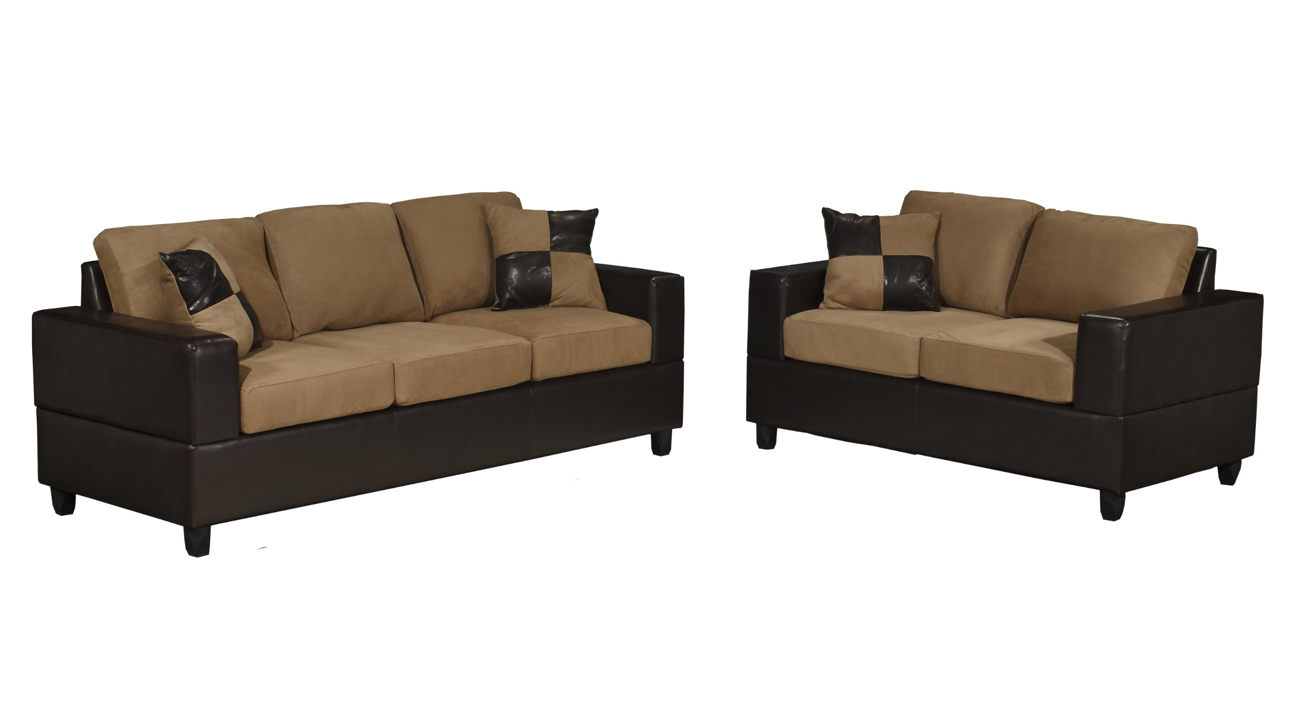 Bobkona seattle microfiber sofa and loveseat 2 piece set in saddle color Microfiber sofa and loveseat set