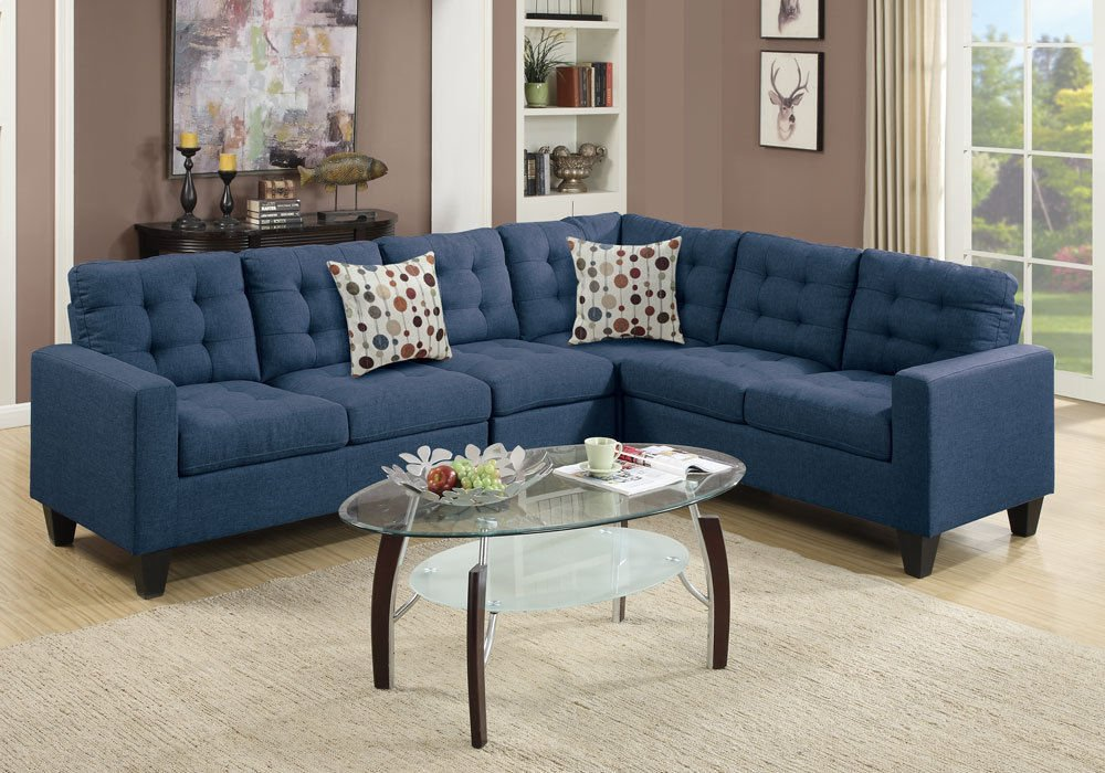 1PerfectChoice Reversible Sectional Sofa Couch Loveseat Wedge Plush Tufted Seat Navy Polyfiber