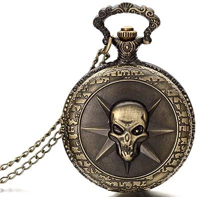 47147751848367 JewelryWe Gioielli collana con pendente da uomo donna Gotico cranio  pendente Bronzo Orologio da tasca catenina lunga 78cm