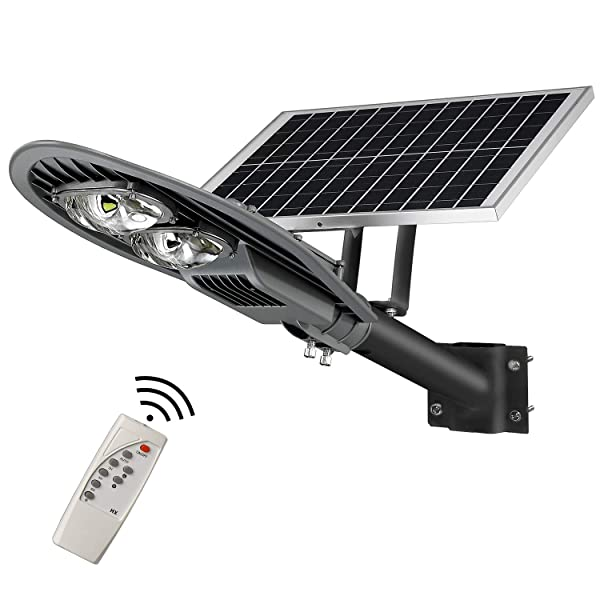 LOVUS Solar Powered Street Lights, 80W Outdoor Solar Lights 8000LM Dusk to Dawn with Remote Control, IP65 Waterproof, Super Stable Performance, ST80-007 (Color: Black, Tamaño: 24.4*10.2*3.1inchs)