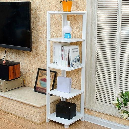 HWF Porta oggetti scaffali Mensole angolari Mensole per pavimenti Scaffale per fiori Supporto per TV Mensole per soggiorno Soggiorno Ripiano multipla 33 * 33 * 135cm ( Colore : Bianca )